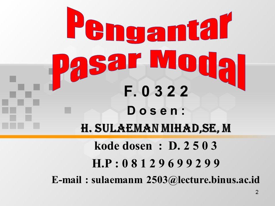 2 F. 0 3 2 2 D o s e n : H. SULAEMAN MIHAD,SE, M kode dosen : D. 2 5 0 3 H.P : 0 8 1 2 9 6 9 9 2 9 9 E-mail : sulaemanm 2503@lecture.binus.ac.id