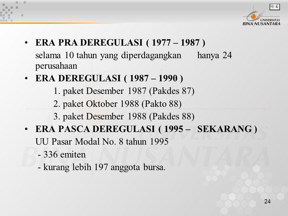 24 ERA PRA DEREGULASI ( 1977 – 1987 ) selama 10 tahun yang diperdagangkan hanya 24 perusahaan ERA DEREGULASI ( 1987 – 1990 ) 1. paket Desember 1987 (P