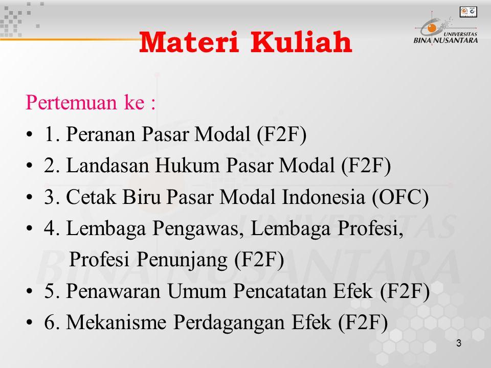 3 Materi Kuliah Pertemuan ke : 1. Peranan Pasar Modal (F2F) 2. Landasan Hukum Pasar Modal (F2F) 3. Cetak Biru Pasar Modal Indonesia (OFC) 4. Lembaga P