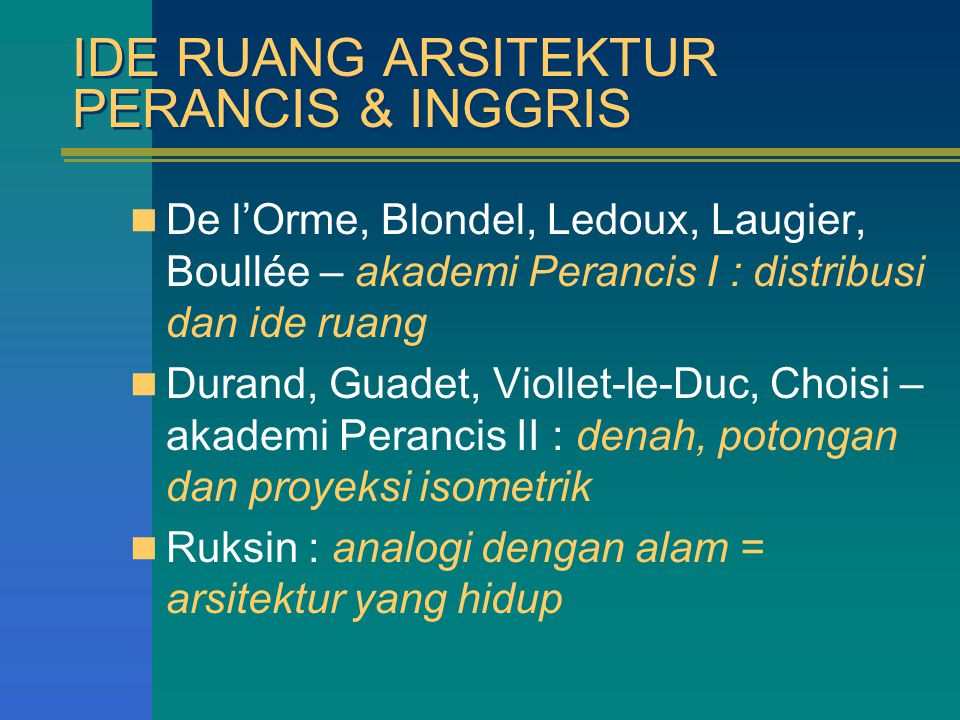 IDE RUANG ARSITEKTUR PERANCIS & INGGRIS De l'Orme, Blondel, Ledoux, Laugier, Boullée – akademi Perancis I : distribusi dan ide ruang Durand, Guadet, V