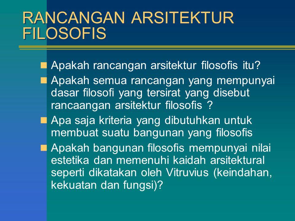 RANCANGAN ARSITEKTUR FILOSOFIS Apakah rancangan arsitektur filosofis itu? Apakah semua rancangan yang mempunyai dasar filosofi yang tersirat yang dise
