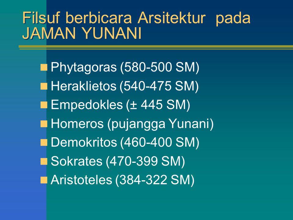 Filsuf berbicara Arsitektur pada JAMAN YUNANI Phytagoras (580-500 SM) Heraklietos (540-475 SM) Empedokles (± 445 SM) Homeros (pujangga Yunani) Demokri