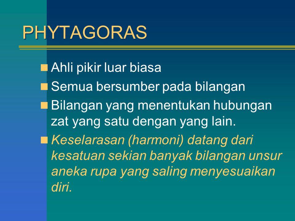 PHYTAGORAS Ahli pikir luar biasa Semua bersumber pada bilangan Bilangan yang menentukan hubungan zat yang satu dengan yang lain. Keselarasan (harmoni)