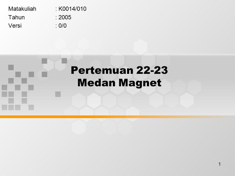 1 Pertemuan 22-23 Medan Magnet Matakuliah: K0014/010 Tahun: 2005 Versi: 0/0