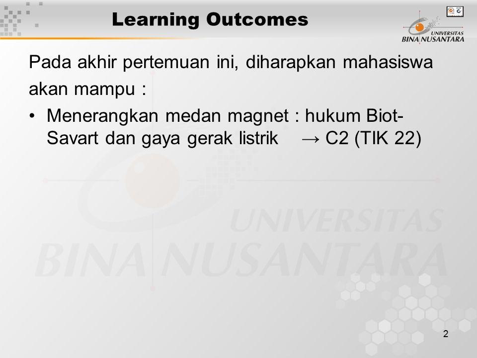 2 Learning Outcomes Pada akhir pertemuan ini, diharapkan mahasiswa akan mampu : Menerangkan medan magnet : hukum Biot- Savart dan gaya gerak listrik →