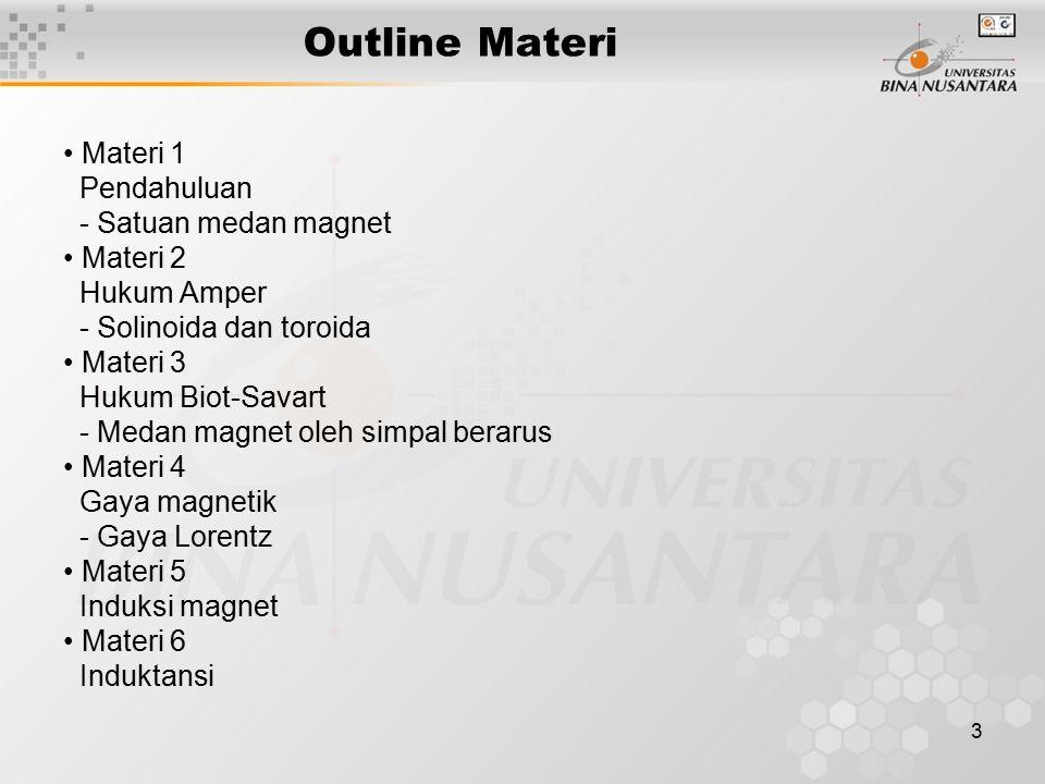 3 Outline Materi Materi 1 Pendahuluan - Satuan medan magnet Materi 2 Hukum Amper - Solinoida dan toroida Materi 3 Hukum Biot-Savart - Medan magnet ole
