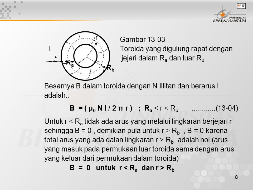 19 Tentukanlah besar kuat medan magnetik di titik P(0,6,0)m Jawaban : Y B1 B1 = medan magnet di P P B oleh L1 B2 B2 = medan magnet di P oleh L2 L1P = L2P = √(6 2 + 3 2 ) m X = 3√5 L2 O L1 Θ = atan (3/6) = 26.6 0 B1 = B2 = 5.1 x 10 -6 T B = 2 B1 cos Θ = 2 x 5.1 x 10 -6 T x 0.984 = 9.1 x 10 -6 T Θ