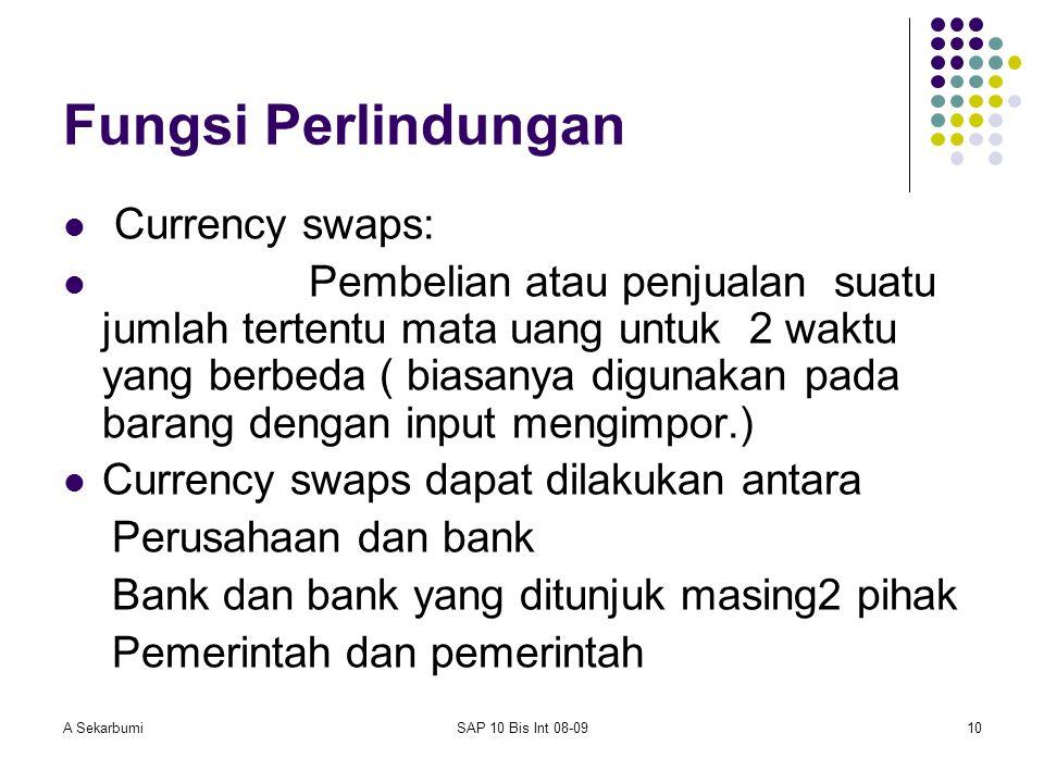 A SekarbumiSAP 10 Bis Int 08-0910 Fungsi Perlindungan Currency swaps: Pembelian atau penjualan suatu jumlah tertentu mata uang untuk 2 waktu yang berb