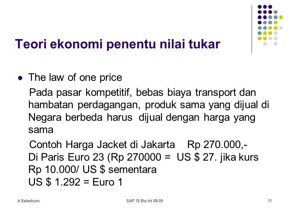A SekarbumiSAP 10 Bis Int 08-0911 Teori ekonomi penentu nilai tukar The law of one price Pada pasar kompetitif, bebas biaya transport dan hambatan per