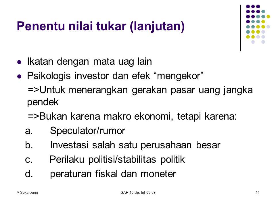 """A SekarbumiSAP 10 Bis Int 08-0914 Penentu nilai tukar (lanjutan) Ikatan dengan mata uag lain Psikologis investor dan efek """"mengekor"""" =>Untuk menerangk"""