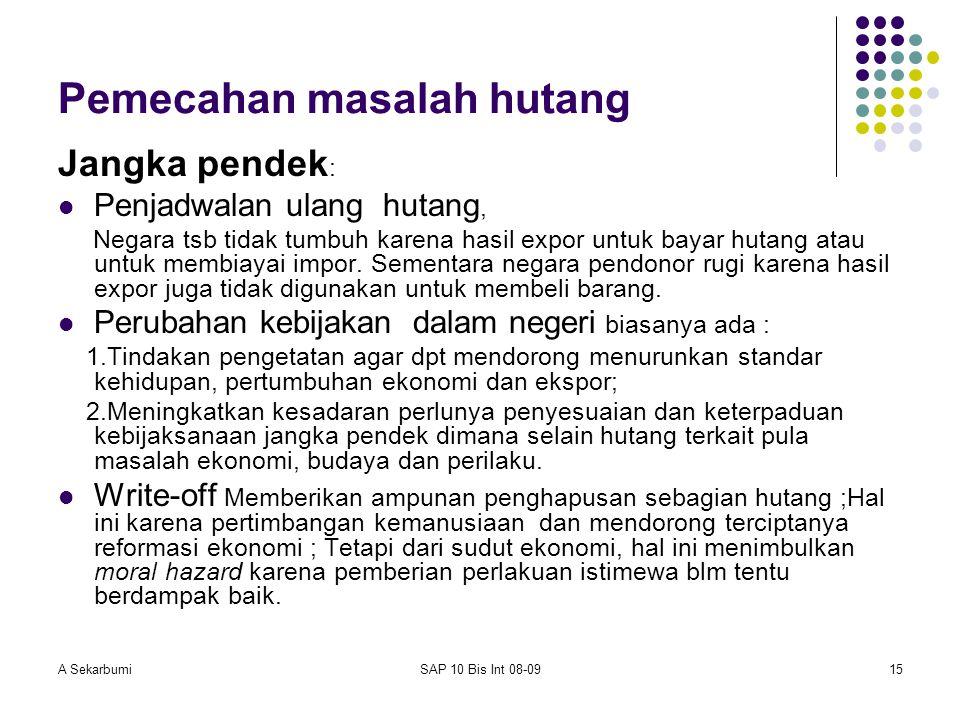A SekarbumiSAP 10 Bis Int 08-0915 Pemecahan masalah hutang Jangka pendek : Penjadwalan ulang hutang, Negara tsb tidak tumbuh karena hasil expor untuk