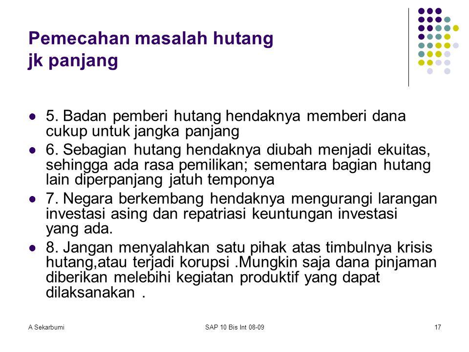 A SekarbumiSAP 10 Bis Int 08-0917 Pemecahan masalah hutang jk panjang 5. Badan pemberi hutang hendaknya memberi dana cukup untuk jangka panjang 6. Seb