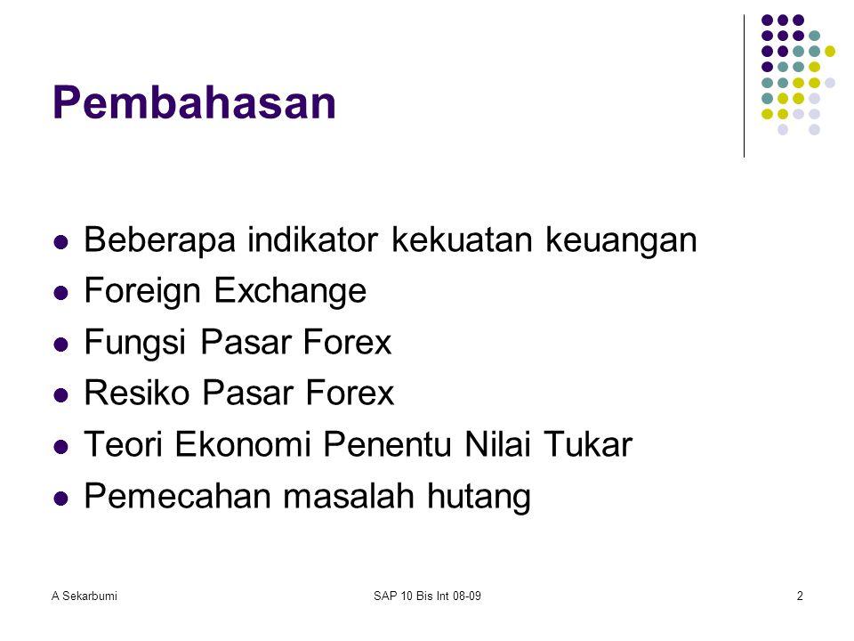 A SekarbumiSAP 10 Bis Int 08-092 Pembahasan Beberapa indikator kekuatan keuangan Foreign Exchange Fungsi Pasar Forex Resiko Pasar Forex Teori Ekonomi