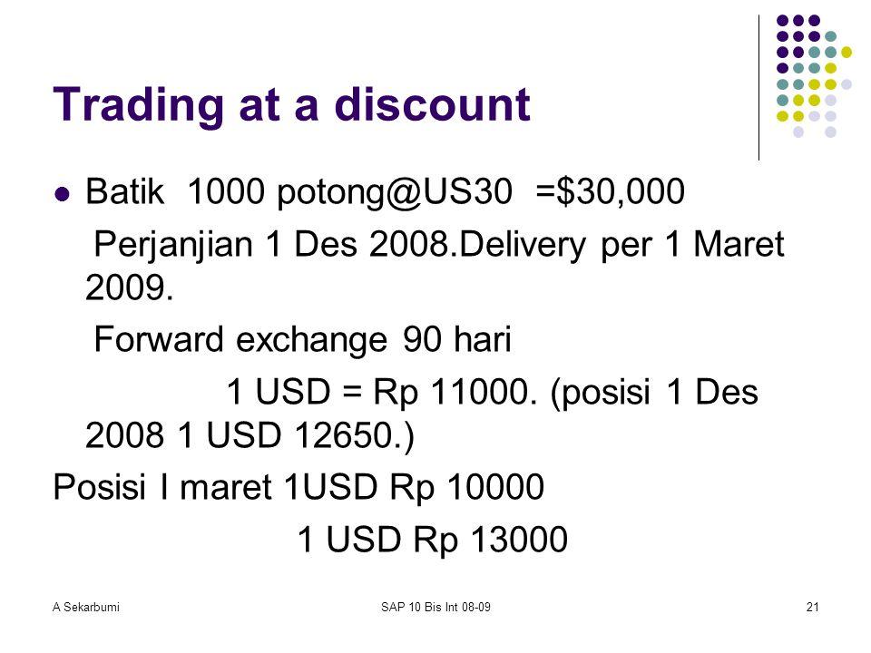 A SekarbumiSAP 10 Bis Int 08-0921 Trading at a discount Batik 1000 potong@US30 =$30,000 Perjanjian 1 Des 2008.Delivery per 1 Maret 2009. Forward excha