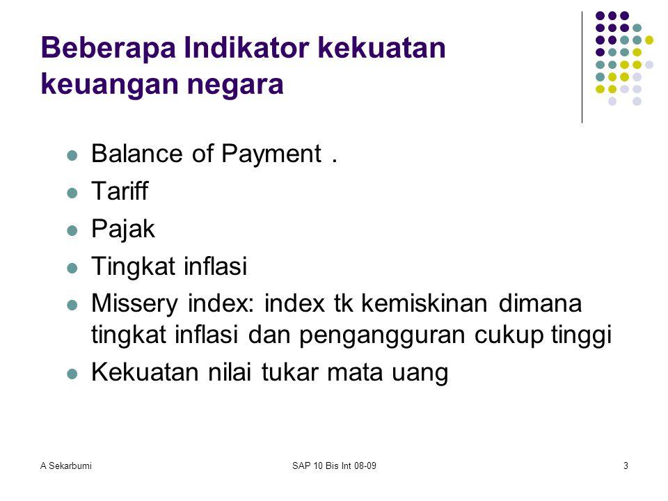 A SekarbumiSAP 10 Bis Int 08-093 Beberapa Indikator kekuatan keuangan negara Balance of Payment. Tariff Pajak Tingkat inflasi Missery index: index tk