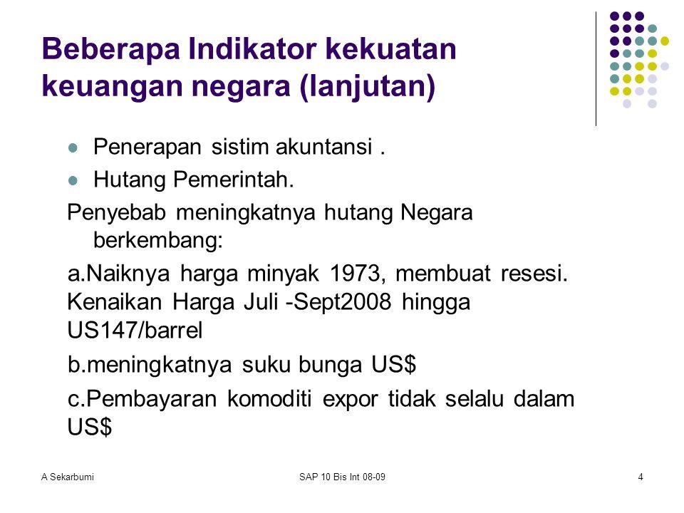 A SekarbumiSAP 10 Bis Int 08-094 Beberapa Indikator kekuatan keuangan negara (lanjutan) Penerapan sistim akuntansi. Hutang Pemerintah. Penyebab mening