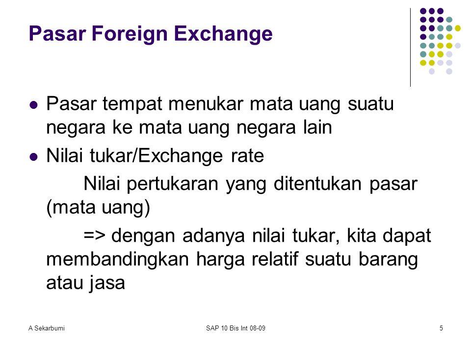A SekarbumiSAP 10 Bis Int 08-095 Pasar Foreign Exchange Pasar tempat menukar mata uang suatu negara ke mata uang negara lain Nilai tukar/Exchange rate