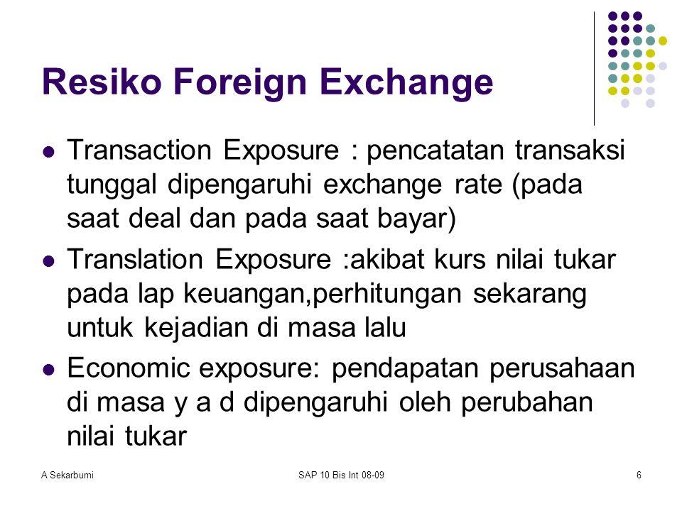 A SekarbumiSAP 10 Bis Int 08-096 Resiko Foreign Exchange Transaction Exposure : pencatatan transaksi tunggal dipengaruhi exchange rate (pada saat deal