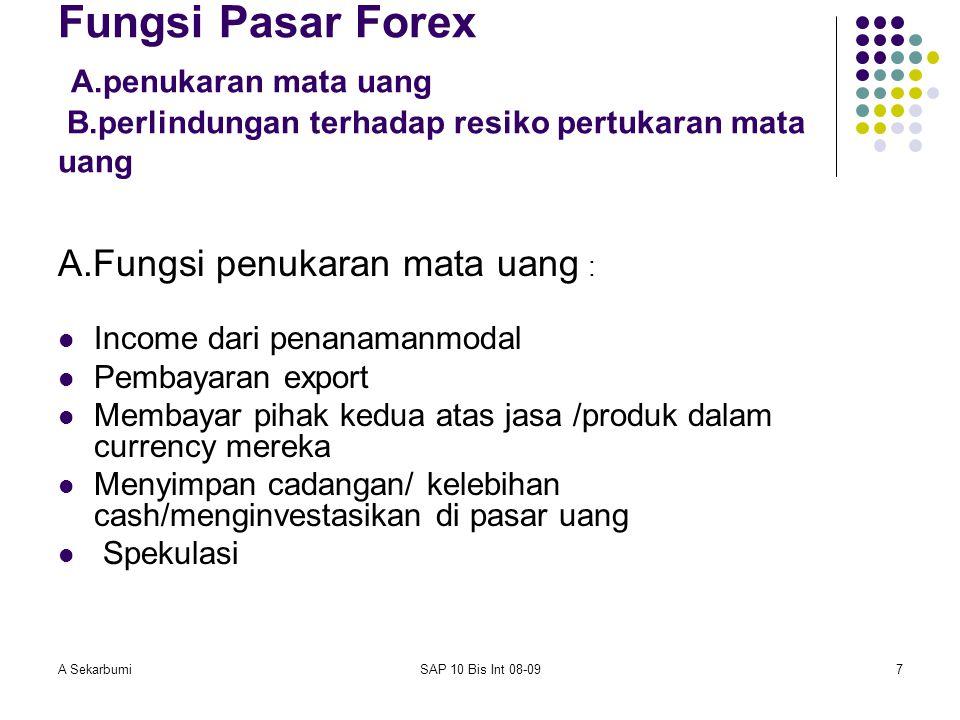 A SekarbumiSAP 10 Bis Int 08-097 Fungsi Pasar Forex A.penukaran mata uang B.perlindungan terhadap resiko pertukaran mata uang A.Fungsi penukaran mata