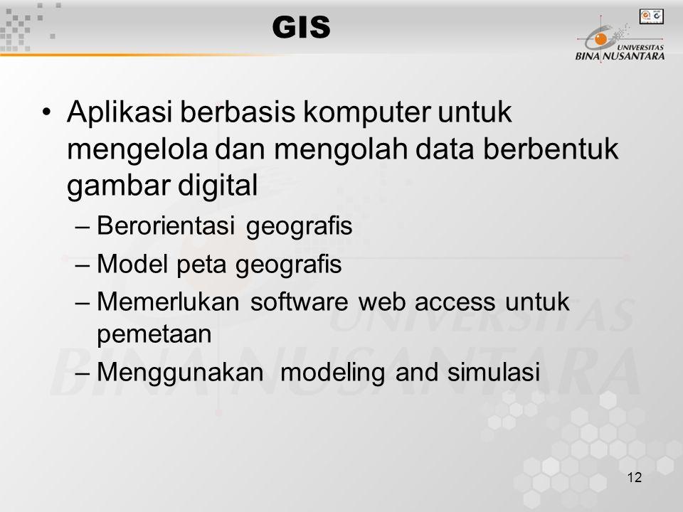 12 GIS Aplikasi berbasis komputer untuk mengelola dan mengolah data berbentuk gambar digital –Berorientasi geografis –Model peta geografis –Memerlukan software web access untuk pemetaan –Menggunakan modeling and simulasi