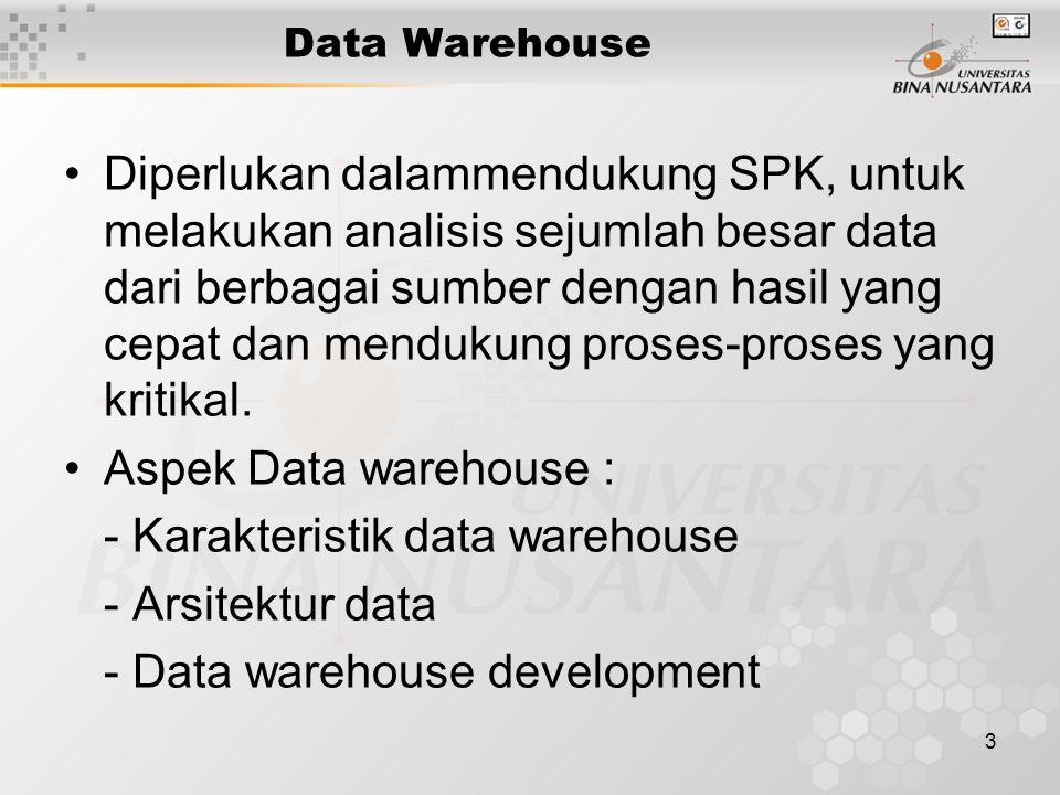 3 Data Warehouse Diperlukan dalammendukung SPK, untuk melakukan analisis sejumlah besar data dari berbagai sumber dengan hasil yang cepat dan mendukung proses-proses yang kritikal.