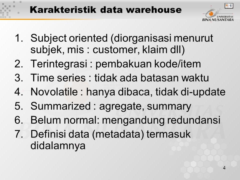 4 Karakteristik data warehouse 1.Subject oriented (diorganisasi menurut subjek, mis : customer, klaim dll) 2.Terintegrasi : pembakuan kode/item 3.Time series : tidak ada batasan waktu 4.Novolatile : hanya dibaca, tidak di-update 5.Summarized : agregate, summary 6.Belum normal: mengandung redundansi 7.Definisi data (metadata) termasuk didalamnya
