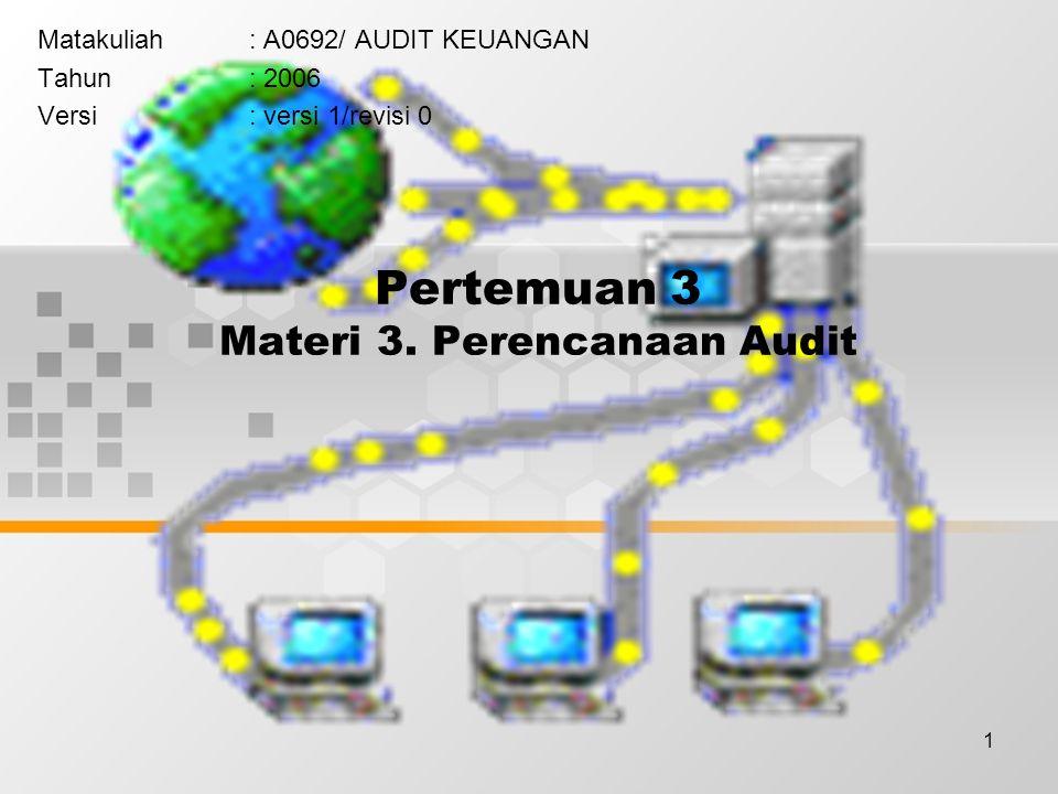 1 Pertemuan 3 Materi 3. Perencanaan Audit Matakuliah: A0692/ AUDIT KEUANGAN Tahun: 2006 Versi: versi 1/revisi 0