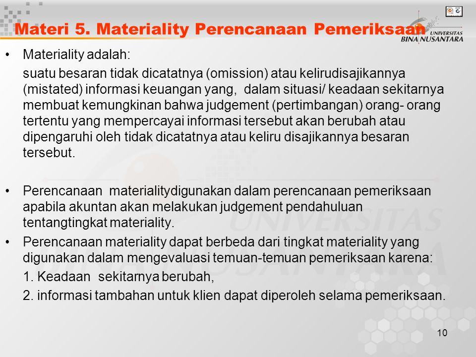 10 Materi 5. Materiality Perencanaan Pemeriksaan Materiality adalah: suatu besaran tidak dicatatnya (omission) atau kelirudisajikannya (mistated) info