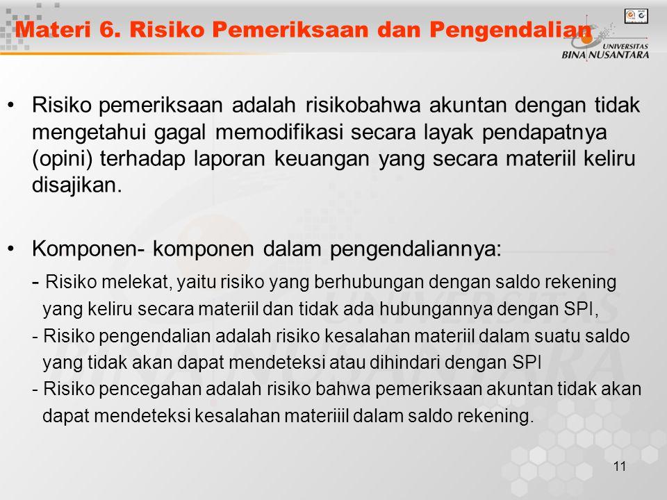 11 Materi 6. Risiko Pemeriksaan dan Pengendalian Risiko pemeriksaan adalah risikobahwa akuntan dengan tidak mengetahui gagal memodifikasi secara layak