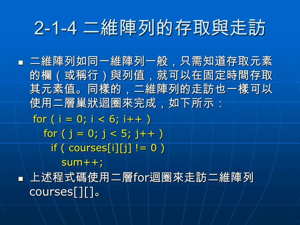 2-1-4 二維陣列的存取與走訪 二維陣列如同一維陣列一般,只需知道存取元素 的欄(或稱行)與列值,就可以在固定時間存取 其元素值。同樣的,二維陣列的走訪也一樣可以 使用二層巢狀迴圈來完成,如下所示: 二維陣列如同一維陣列一般,只需知道存取元素 的欄(或稱行)與列值,就可以在固定時間存取 其元素值。