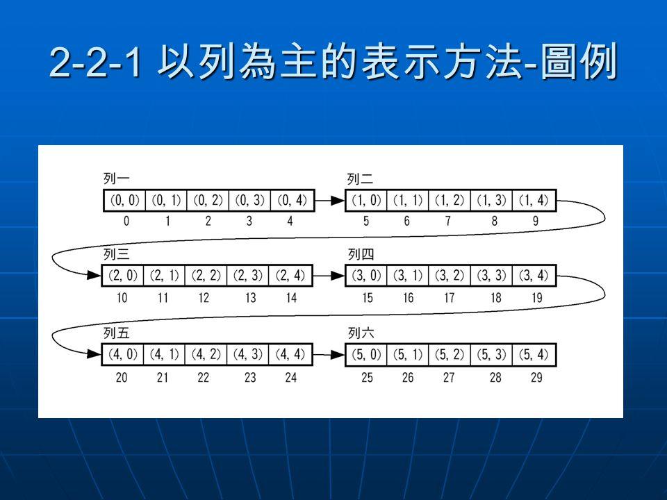 2-2-1 以列為主的表示方法 - 圖例