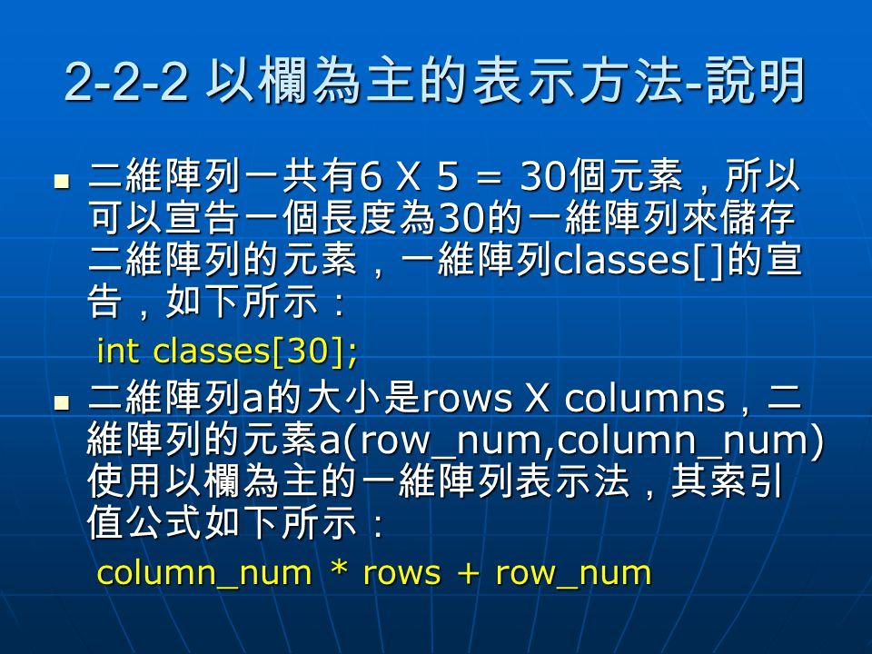 2-2-2 以欄為主的表示方法 - 說明 二維陣列一共有 6 X 5 = 30 個元素,所以 可以宣告一個長度為 30 的一維陣列來儲存 二維陣列的元素,一維陣列 classes[] 的宣 告,如下所示: 二維陣列一共有 6 X 5 = 30 個元素,所以 可以宣告一個長度為 30 的一維陣列來儲存