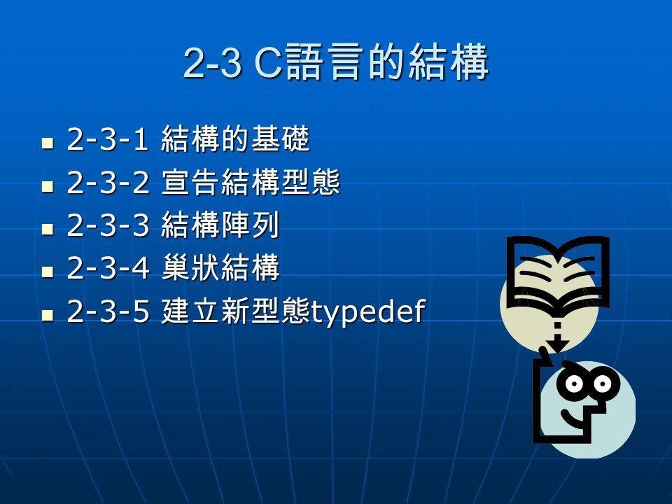 2-3 C 語言的結構 2-3-1 結構的基礎 2-3-1 結構的基礎 2-3-2 宣告結構型態 2-3-2 宣告結構型態 2-3-3 結構陣列 2-3-3 結構陣列 2-3-4 巢狀結構 2-3-4 巢狀結構 2-3-5 建立新型態 typedef 2-3-5 建立新型態 typedef
