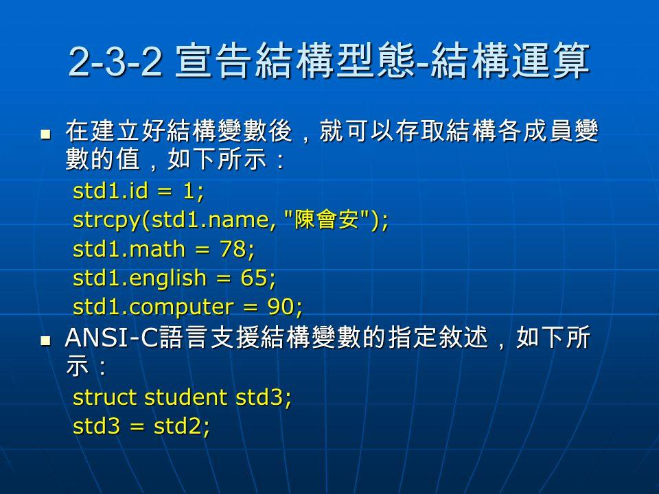 2-3-2 宣告結構型態 - 結構運算 在建立好結構變數後,就可以存取結構各成員變 數的值,如下所示: 在建立好結構變數後,就可以存取結構各成員變 數的值,如下所示: std1.id = 1; strcpy(std1.name,