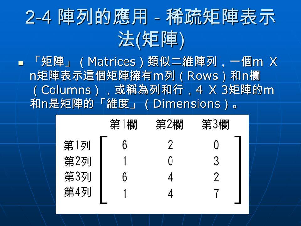 2-4 陣列的應用 - 稀疏矩陣表示 法 ( 矩陣 ) 「矩陣」( Matrices )類似二維陣列,一個 m X n 矩陣表示這個矩陣擁有 m 列( Rows )和 n 欄 ( Columns ),或稱為列和行, 4 X 3 矩陣的 m 和 n 是矩陣的「維度」( Dimensions )。 「矩