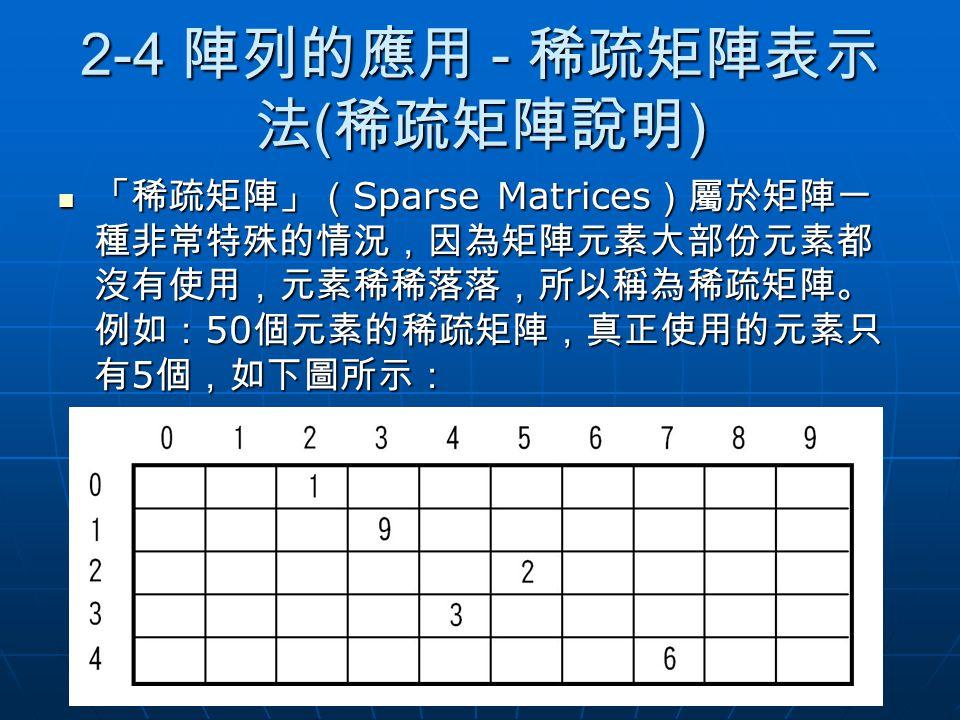 2-4 陣列的應用 - 稀疏矩陣表示 法 ( 稀疏矩陣說明 ) 「稀疏矩陣」( Sparse Matrices )屬於矩陣一 種非常特殊的情況,因為矩陣元素大部份元素都 沒有使用,元素稀稀落落,所以稱為稀疏矩陣。 例如: 50 個元素的稀疏矩陣,真正使用的元素只 有 5 個,如下圖所示: 「稀疏矩陣
