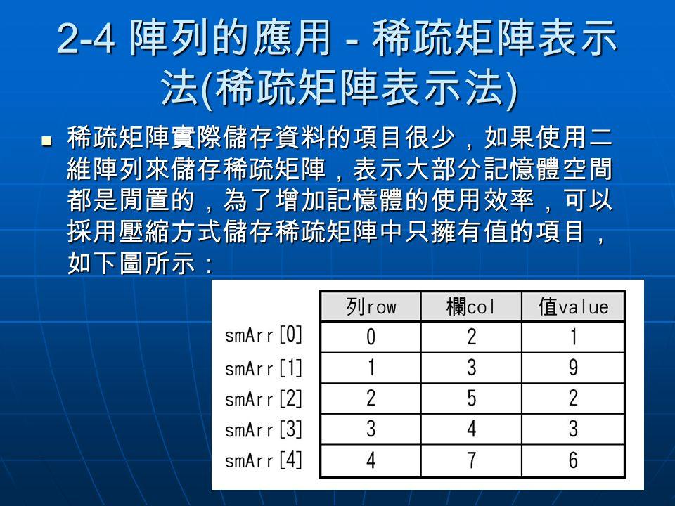 2-4 陣列的應用 - 稀疏矩陣表示 法 ( 稀疏矩陣表示法 ) 稀疏矩陣實際儲存資料的項目很少,如果使用二 維陣列來儲存稀疏矩陣,表示大部分記憶體空間 都是閒置的,為了增加記憶體的使用效率,可以 採用壓縮方式儲存稀疏矩陣中只擁有值的項目, 如下圖所示: 稀疏矩陣實際儲存資料的項目很少,如果使用二