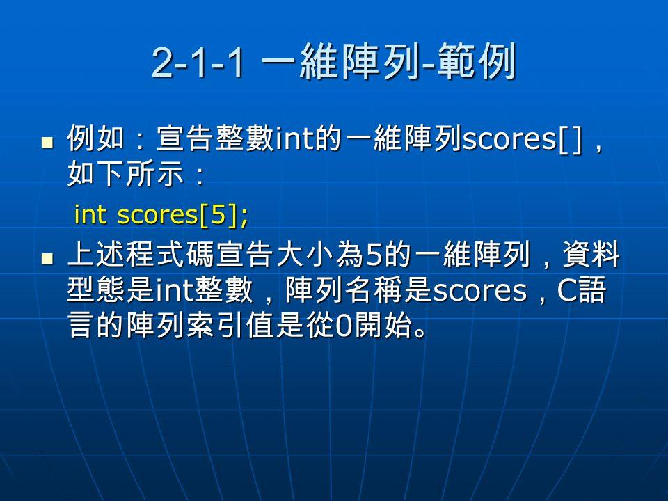 2-1-1 一維陣列 - 範例 例如:宣告整數 int 的一維陣列 scores[] , 如下所示: 例如:宣告整數 int 的一維陣列 scores[] , 如下所示: int scores[5]; 上述程式碼宣告大小為 5 的一維陣列,資料 型態是 int 整數,陣列名稱是 scores , C