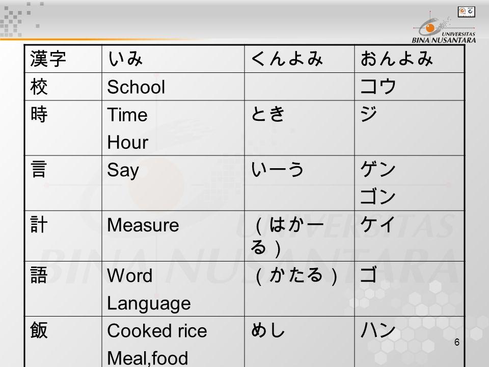 6 漢字いみくんよみおんよみ 校 School コウ 時 Time Hour ときジ 言 Say いーうゲン ゴン 計 Measure (はかー る) ケイ 語 Word Language (かたる)ゴ 飯 Cooked rice Meal,food めしハン