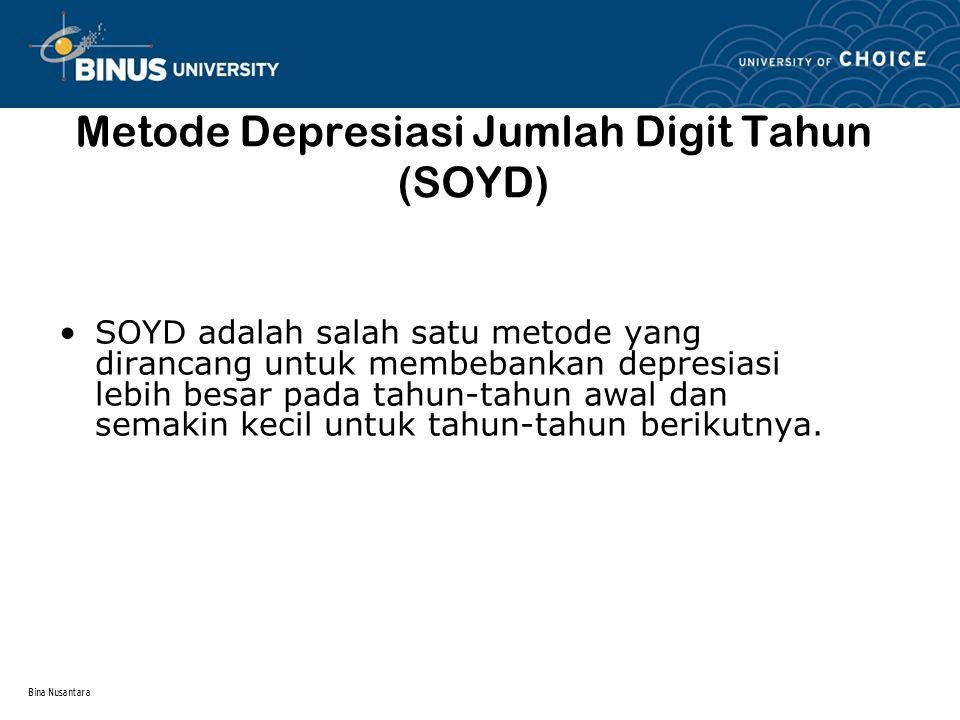 Bina Nusantara Metode Depresiasi Jumlah Digit Tahun (SOYD) SOYD adalah salah satu metode yang dirancang untuk membebankan depresiasi lebih besar pada