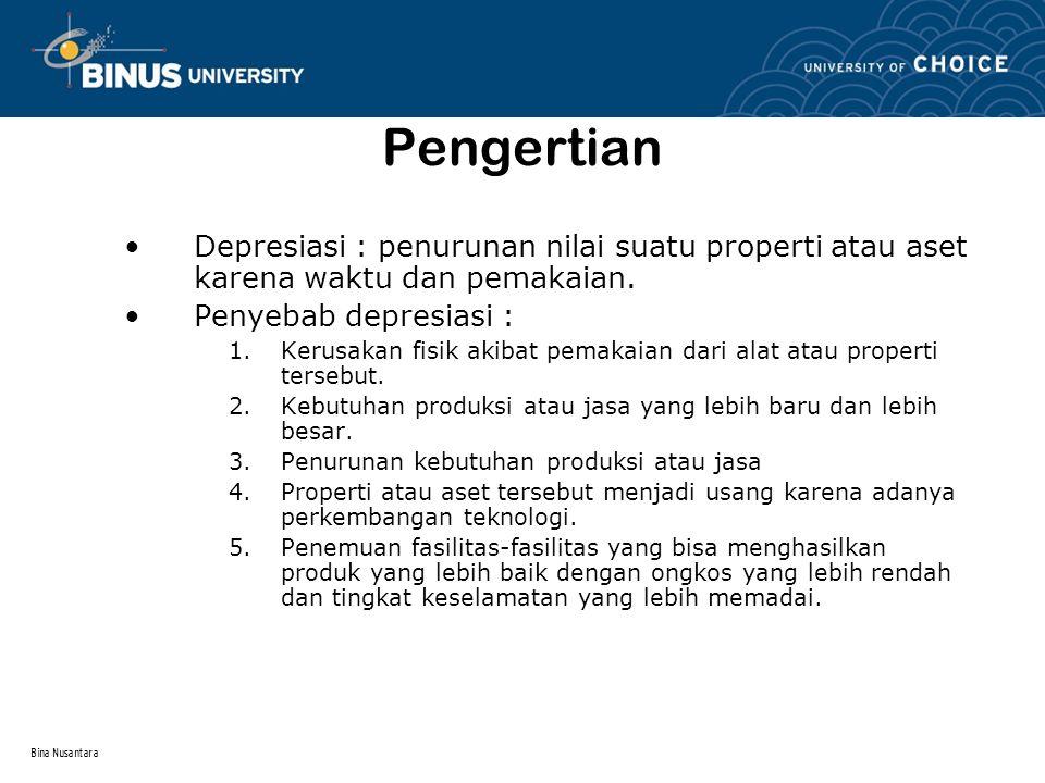 Bina Nusantara Pengertian Depresiasi : penurunan nilai suatu properti atau aset karena waktu dan pemakaian. Penyebab depresiasi : 1.Kerusakan fisik ak