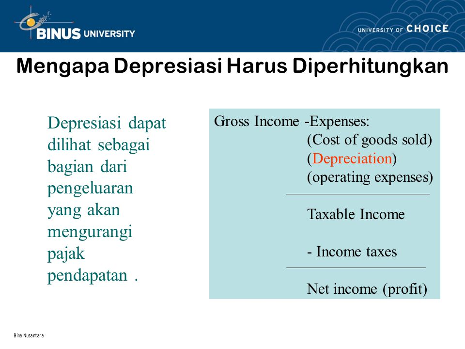 Bina Nusantara Depreciation Concept Economic Depreciation Purchase Price – Market Value (Economic loss due to both physical deterioration and technological obsolescence) Accounting Depreciation A systematic allocation of cost basis over a period of time.
