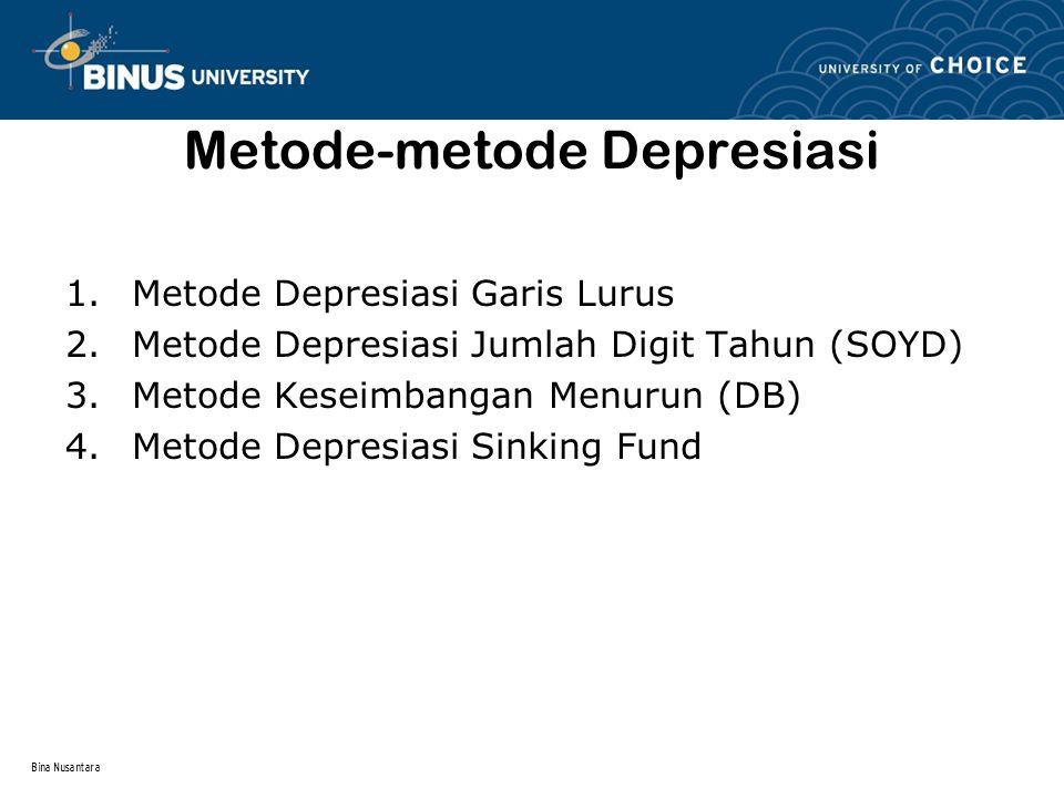Bina Nusantara Metode-metode Depresiasi 1.Metode Depresiasi Garis Lurus 2.Metode Depresiasi Jumlah Digit Tahun (SOYD) 3.Metode Keseimbangan Menurun (D
