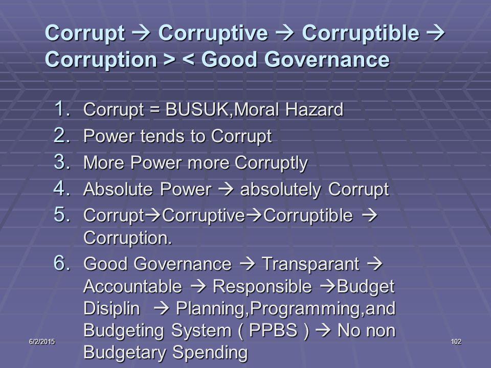 6/2/2015102 Corrupt  Corruptive  Corruptible  Corruption > < Good Governance 1.