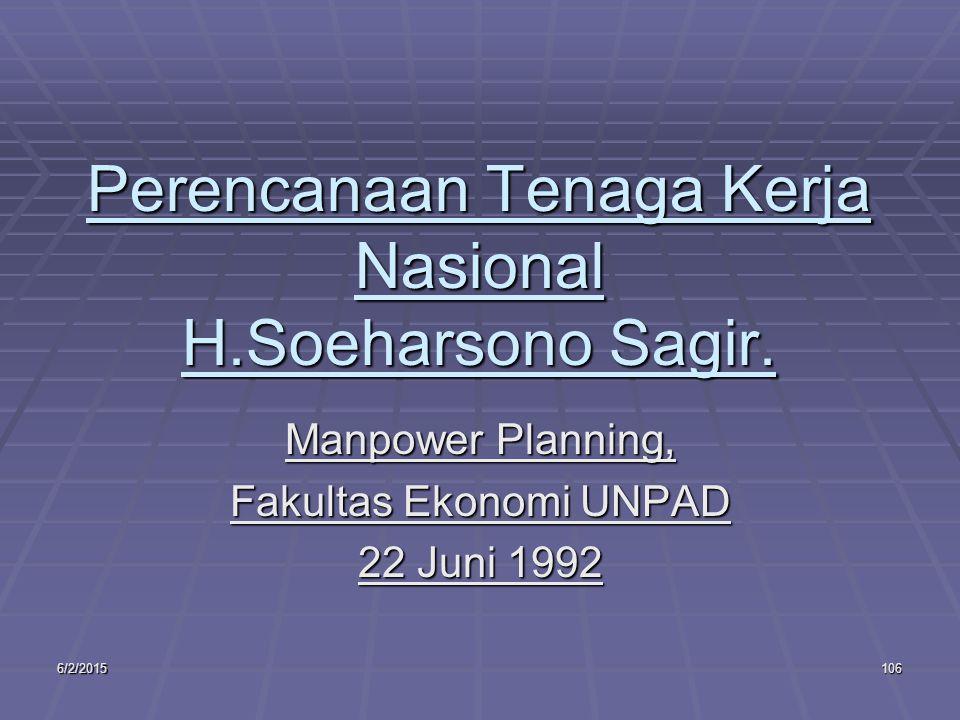 6/2/2015106 Perencanaan Tenaga Kerja Nasional H.Soeharsono Sagir.