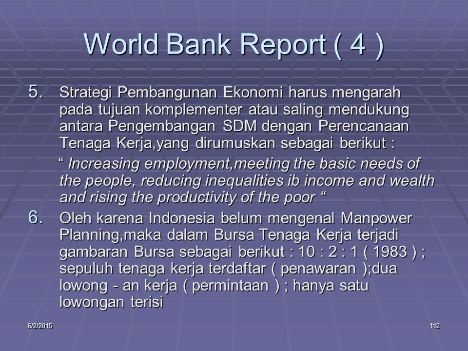 6/2/2015112 World Bank Report ( 4 ) 5.