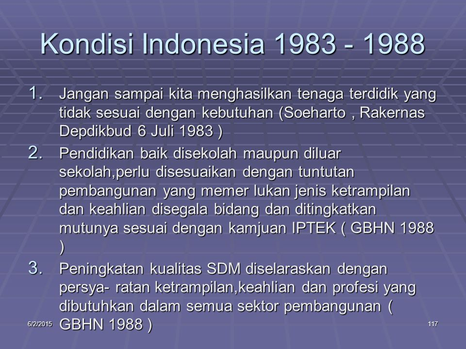6/2/2015117 Kondisi Indonesia 1983 - 1988 1.