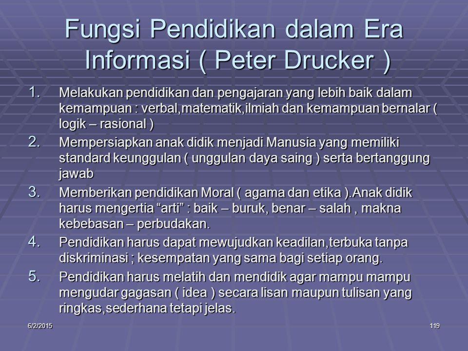 6/2/2015119 Fungsi Pendidikan dalam Era Informasi ( Peter Drucker ) 1.