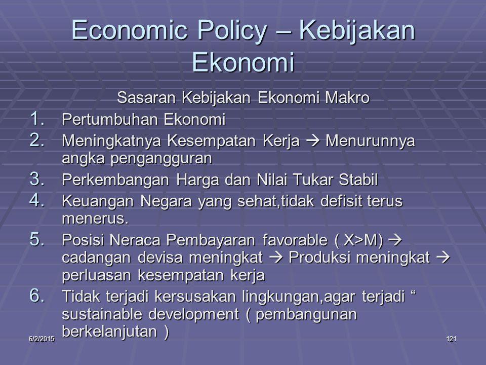 6/2/2015121 Economic Policy – Kebijakan Ekonomi Sasaran Kebijakan Ekonomi Makro 1.