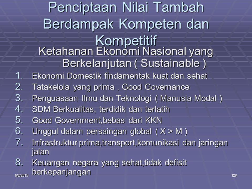 6/2/2015128 Penciptaan Nilai Tambah Berdampak Kompeten dan Kompetitif Ketahanan Ekonomi Nasional yang Berkelanjutan ( Sustainable ) 1.